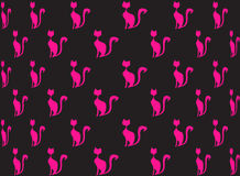 Seamless pattern of pink cats in black with bright colors pink. Stock Photography