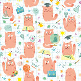 Seamless Pattern - Pink Cats Studing School royalty free illustration