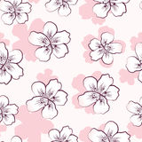 Seamless pattern with pink cherry blossom Stock Photo