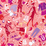 Seamless pattern in pink colors - Silhouettes of f Stock Photo