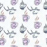 Seamless pattern with pink cups of cocoa and inscriptions  Royalty Free Stock Photos