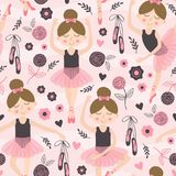 Seamless pattern pink with cute ballerina girl. Vector illustration, eps royalty free illustration