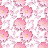 Seamless pattern with pink 3d sakura cutting paper. Background seamless pattern with pink 3d flower sakura cutting paper - japanese cherry tree, branch, leaf Royalty Free Stock Image