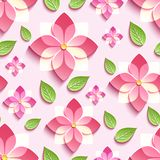 Seamless pattern with pink 3d sakura and green leaves. Trendy background seamless pattern with decorative pink 3d sakura blossom, japanese cherry tree cutting Royalty Free Stock Photo