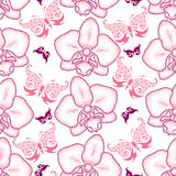 Seamless pattern with pink dotted moth Orchid or Phalaenopsis and ornate butterflies on the white background. Royalty Free Stock Photo