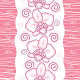 Seamless pattern with pink dotted moth Orchid or Phalaenopsis and swirls on the white background. Royalty Free Stock Image
