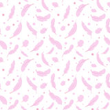 Seamless pattern with pink feathers stock illustration