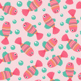 Seamless pattern with pink fish. Vector illustration, eps Royalty Free Stock Photo
