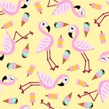 Seamless pattern from pink flamingo and ice cream. Vector background. stock illustration