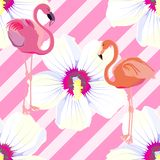 Seamless pattern. Pink flamingo. Pattern with pink flowers. Ornament with oriental motifs. Vector. vector illustration