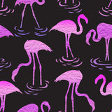 Seamless pattern with pink flamingos. stock photos