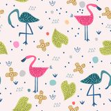 Seamless pattern with pink flamingos cute drawing and abstract elements background. Vector illustration childish hand drawn. Scandinavian art for fashion stock illustration