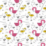 Seamless pattern with pink flamingos cute drawing and abstract elements background. Vector illustration childish hand drawn. Scandinavian art for fashion royalty free illustration