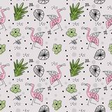 Seamless pattern with pink flamingos cute drawing and abstract elements background. Vector illustration childish hand drawn. Scandinavian art for fashion vector illustration