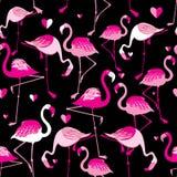 Seamless pattern from pink flamingos Stock Photos