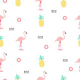Seamless pattern with pink flamingos. Royalty Free Stock Image