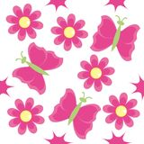 Seamless pattern with pink flowers. And butterflies Stock Photos