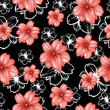 Seamless pattern with pink flowers on the black background.Vector fashion fabric textile design. Can be used for pillow or tablecloth Stock Photos