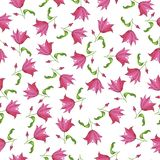 Pink tulip or lilly flowers watercolor pattern. vector illustration