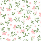 Seamless pattern with pink flowers and green leaves. Vector illustration. Stock Images