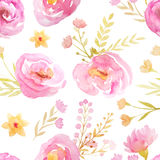 Seamless pattern with pink flowers Royalty Free Stock Photo