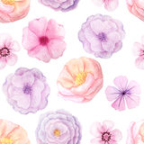 Seamless pattern with pink flowers Stock Photo