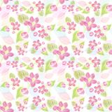 Seamless  pattern with flowers and leaves. Seamless  pattern with pink flowers and leaves. Endless texture for your design Royalty Free Stock Photos