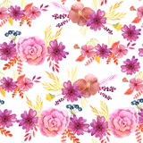 Seamless pattern with pink flowers and leaves Stock Image