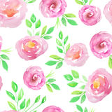 Seamless pattern with pink flowers and leaves Royalty Free Stock Photo