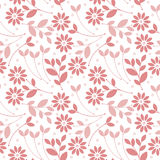 Seamless pattern with pink flowers and leaves isolated on white Royalty Free Stock Images