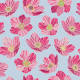 Seamless pattern pink flowers, light blue background, pop art style. Seamless pattern pink flowers dryas, light blue background, pop art style Stock Photo