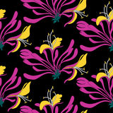 Seamless pattern. Pink flowers lonicera on black background. Vector Eastern illustration. Seamless pattern. Pink flowers lonicera on black background. Vector Stock Photos