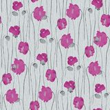 Seamless pattern of pink flowers of poppies on a turquoise background. Watercolor -1 stock illustration