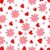 Pattern. Hearts and flowers. royalty free illustration
