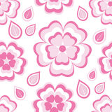 Seamless pattern with pink flowers sakura and leaves Royalty Free Stock Image