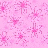 Seamless pattern pink flowers. Pattern spring pink wildflowers. Graphic texture with buttercups. Sketch pattern for print on clothing Stock Illustration