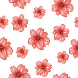 Seamless pattern with pink flowers on the white background.Vector fashion fabric textile design. Stock Photography
