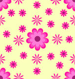 Seamless pattern pink flowers on yellow background Royalty Free Stock Images