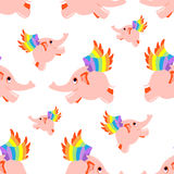 Seamless pattern pink flying elephant. Vector background Stock Photography