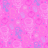 Seamless pattern of pink for girls Stock Photos