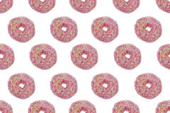 Seamless Pattern of Pink glazed Donuts Stock Photography