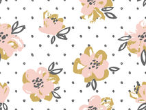 Seamless pattern with pink and gold flowers on the polka dot background.