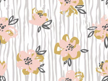 Seamless pattern with pink and gold flowers on the striped background. Royalty Free Stock Photos