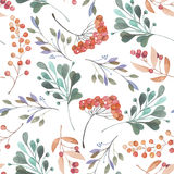 Seamless pattern with the pink and green branches and berries, hand drawn in a watercolor on a white background Royalty Free Stock Images