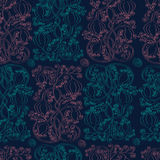Seamless pattern with pink and green doodle ornaments.. Pattern with ornamental flowers and leaves stock illustration