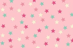 Seamless Pattern pink and Green Star Design on Pink Background.  Stock Images