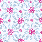 Seamless pattern. With pink hand drawn flowers and blue leafs Stock Photography