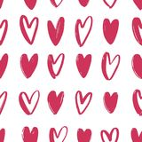 Seamless pattern with pink hand drawn hearts on white background. Backdrop with love, passion and dating symbols. Valentine`s day vector illustration for Royalty Free Stock Image