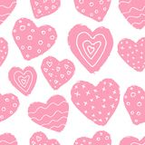 Seamless pattern with pink hand drawn hearts on white background. Scandinavian design style, vector illustration Stock Images
