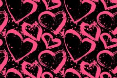 Seamless pattern of pink hearts on a black background. Heart candy lollipop seamless pattern. Sweet decorative food print. Valentines Day background. Vector Royalty Free Stock Photography